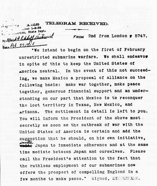 In 1917 on this day Zimmermann sent a telegram to the United States. The World War had raged for nearly three years, and Germany felt the pinch with trench warfare in France, the British blockade, and bitter warfare on the icy Eastern Front.