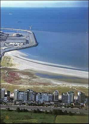 Knokke beach and port of Zeebrugge