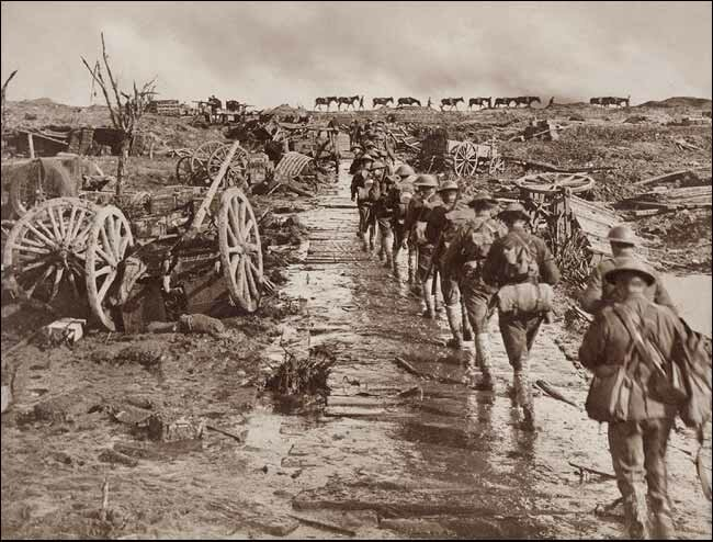 Infantry marching ahead in a single line to the front