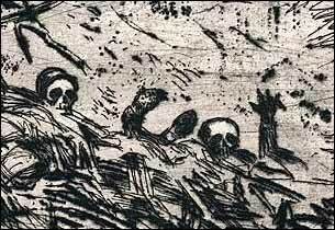 Buried alilve, etching by Otto Dix