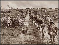 Australian infantry marching towards the Westhoek Ridge front