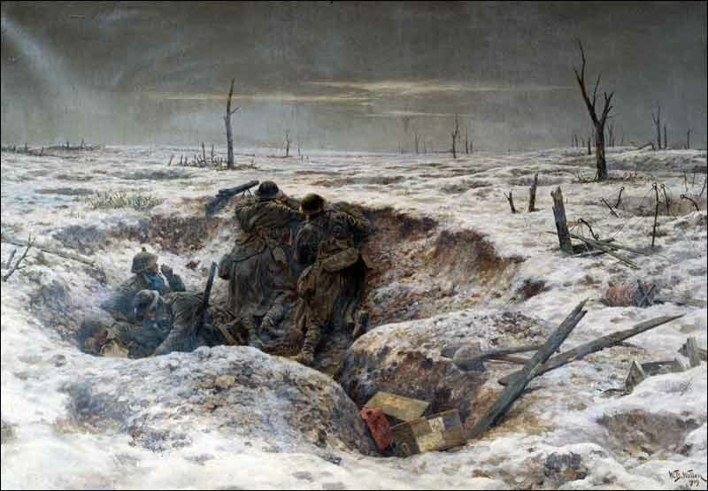 Christmas 1916 on the Somme Front, painting W.B. Wollen
